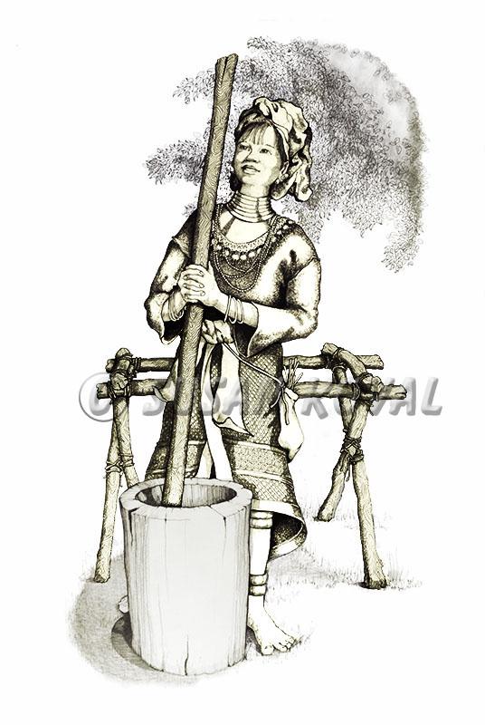 Woman grinding Grain